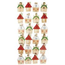 Adventi naptár csipesz házikókkal fából