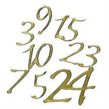 Adventi naptár számok arany színű papír matrica 25 db-os 2 cm