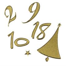 Adventi naptár számok arany színű papír matrica 25 db-os 3 szett