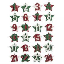 Adventi naptár számok karácsonyi csillagokon