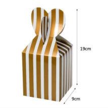 Arany csíkos papír ajándék doboz fülecskés 6 db