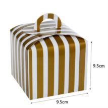 Arany csíkos papír süteményes doboz, party doboz 6 db