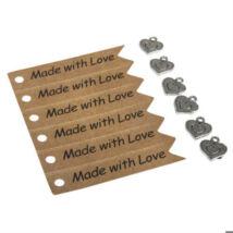 Made with Love papír zászló, címke fém szívvel 6 + 6 db-os csomag