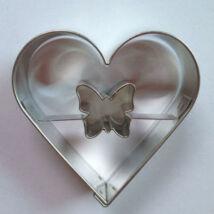 Pillangó közepű szív linzer kiszúró, sütikiszúró 5,4 cm