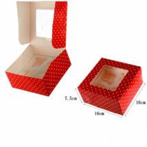 Piros pöttyös ablakos papír muffin doboz, ajándék doboz 2 db