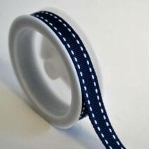 Sötétkék fehér szaggatott csíkos textil szalag 1 cm x 2 m