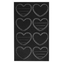Szív alakú fekete táblafólia matrica, címke 8 db