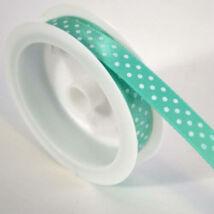 Zöld fehér pöttyös szatén szalag 1 cm x 2 m