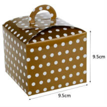 Arany pöttyös papír süteményes doboz, party doboz 6 db