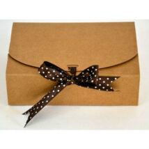 Közepes natúr papír masnis sütisdoboz, ajándék doboz 1 db