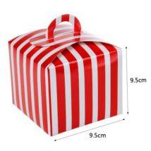 Piros csíkos papír süteményes doboz, party doboz 6 db