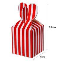 Piros csíkos papír ajándék doboz fülecskés 6 db