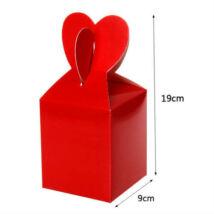 Piros papír ajándék doboz fülecskés 6 db