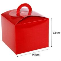 Piros papír süteményes doboz, party doboz 6 db