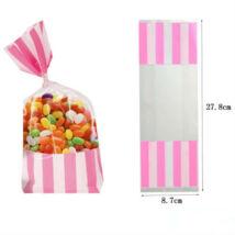 Rózsaszín fehér csíkos cukorkás zacskó, ajándéktasak 2 db