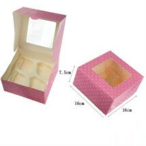 Rózsaszín pöttyös ablakos papír muffin doboz, ajándék doboz 2 db