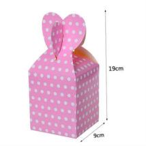 Rózsaszín pöttyös papír ajándék doboz fülecskés 6 db
