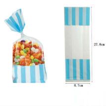 Világoskék fehér csíkos cukorkás zacskó, ajándéktasak 2 db