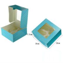 Világoskék pöttyös ablakos papír muffin doboz, ajándék doboz 2 db