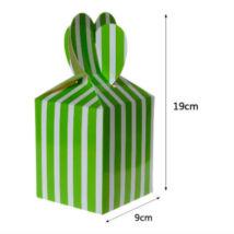 Zöld fehér csíkos papír ajándék doboz fülecskés 6 db