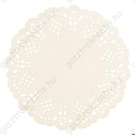 14 cm-es krémszínű kör csipkepapír 30 db-os csomag