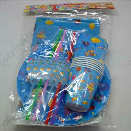 25 db-os kék party szett (tányér, pohár, szívószál, szalvéta, terítő)
