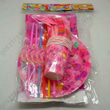 25 db-os rózsaszín party szett (tányér, pohár, szívószál, szalvéta, terítő)