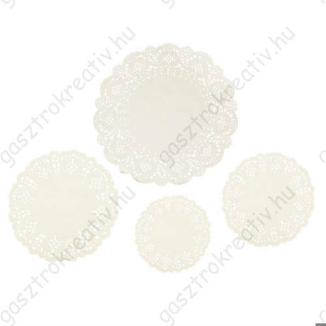 4 x 15 db-os krémszínű kör csipkepapír készlet