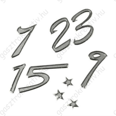 Adventi naptár számok ezüst színű papír matrica 25 db-os 3 szett
