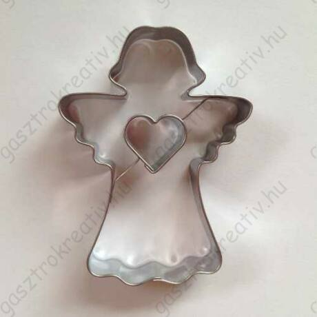 Angyalka karácsonyi linzer kiszúró forma szív középpel 7,7 cm - felső