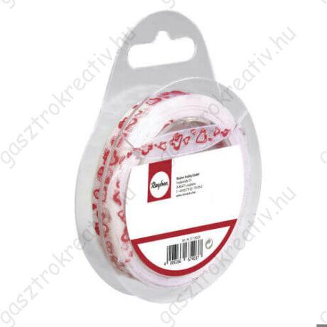 Ezüstösen csillogó piros szívecskés organza szalag 10 mm