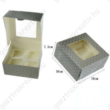 Ezüst pöttyös ablakos papír muffin doboz, ajándék doboz 2 db