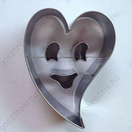 Halloween ferde szív szellem kiszúró, linzer tészta szaggató 6,9 cm