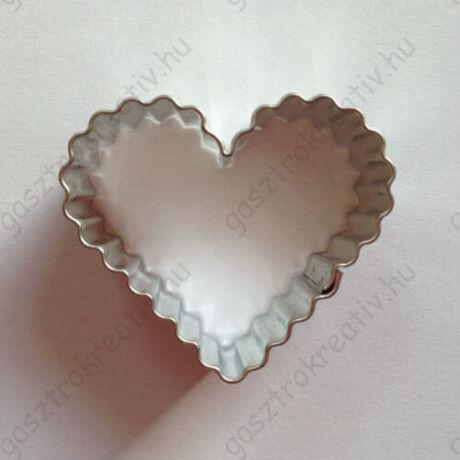 Hullámos szív sütikiszúró, mézeskalács forma 4 cm
