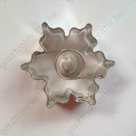 Karácsonyi hópihe sütemény kiszúró linzer forma kör közepű 4,3 cm - linzer felső