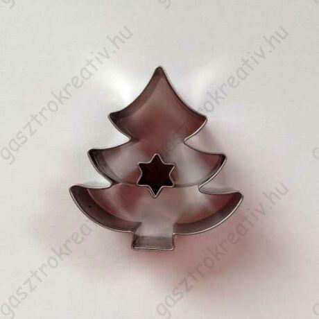 Karácsonyi linzer kiszúró fenyőfa felső csillag közepű 4,5 cm