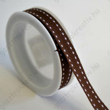 Kávébarna fehér szaggatott csíkos textil szalag 1 cm x 2 m