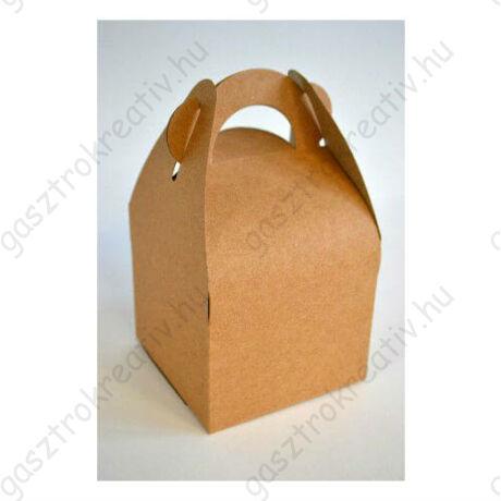 Kicsi natúr füles papír sütisdoboz, ajándék doboz