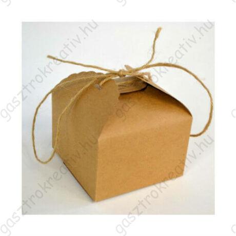 Kicsi natúr papír madzagos sütisdoboz, ajándék doboz hullámos szegéllyel 1 db