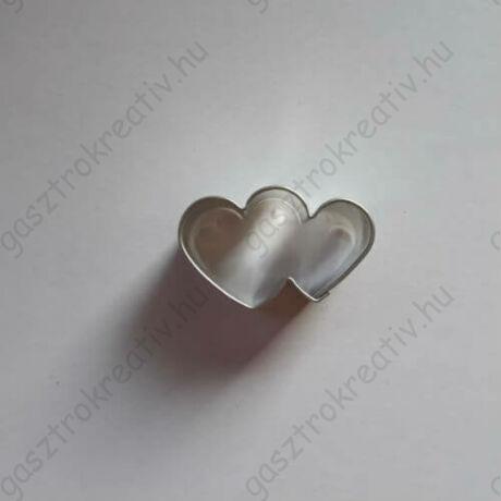 Kis dupla szív kiszúró, mézeskalács figura 3,5 cm