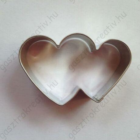 Közepes dupla szív kiszúró, mézeskalács figura 5,5 cm