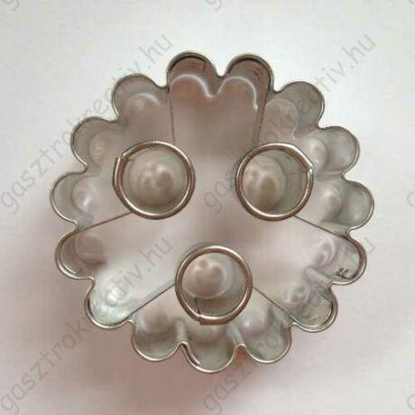 Linzer kiszúró 3 karikás virág 5 cm (linzer felső)