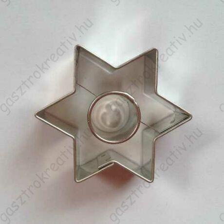 Linzer kiszúró csillag kör középpel 4,5 cm - linzer felső