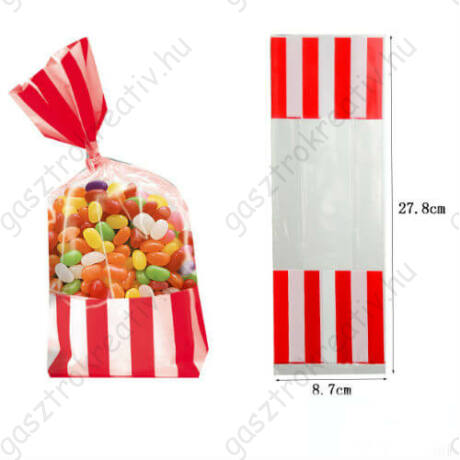 Piros fehér csíkos cukorkás zacskó, ajándéktasak 2 db