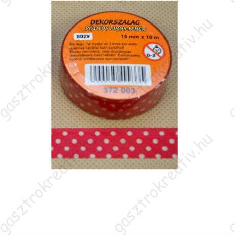 Piros fehér pöttyös öntapadós papír dekortapasz, washi tape 15 mm x 10 m