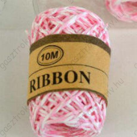 Rózsaszín-fehér sodrott papírzsinór, papír pékzsineg