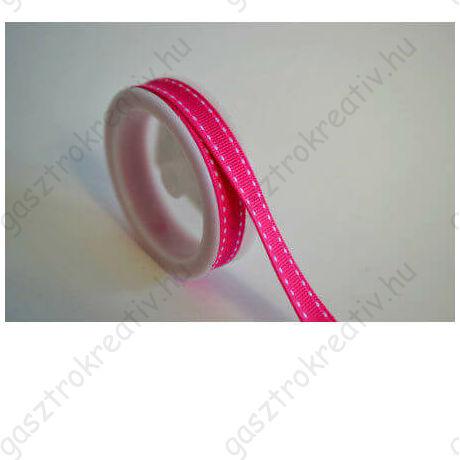 Sötét rózsaszín fehér szaggatott csíkos textil szalag 1 cm x 2 m