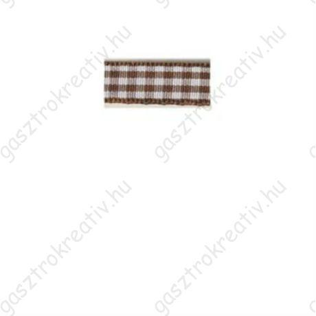 Sötét barna kockás textil szalag 9,5 mm