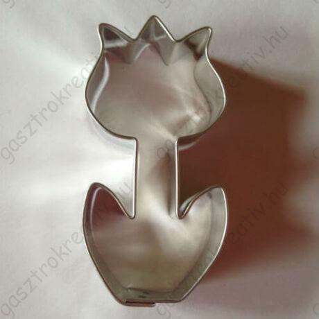 Tulipán virágszál sütikiszúró forma fém 6,5 cm