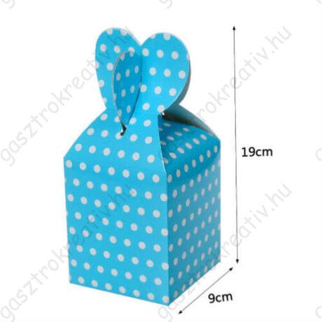 Világoskék fehér pöttyös papír ajándék doboz fülecskés 6 db